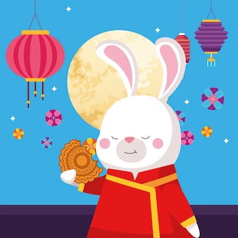 Rabbit cartoon in traditional cloth mooncake moon and lanterns design, happy mid autumn harvest festival oriental chinese and celebration theme