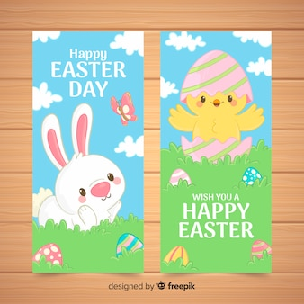 Rabbit and chicken easter banner