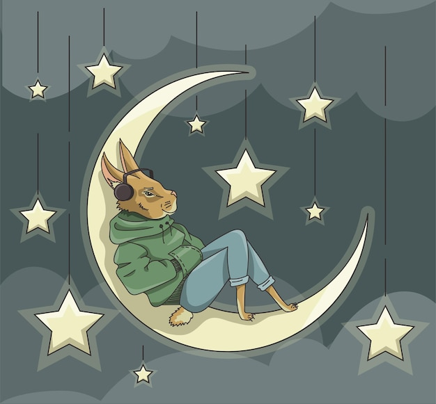 달 위에서 음악을 들으며 쉬고 있는 토끼