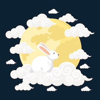 Rabbit on clouds and moon