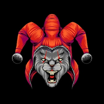 Rabbit clown t shirt illustration premium vector