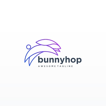 Rabbit colorful line art design