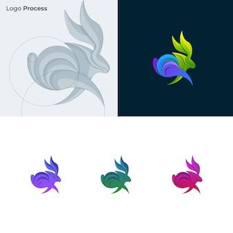 ウサギのカラフルなロゴ