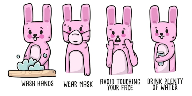 Rabbit covid-19 proper hygiene illustration