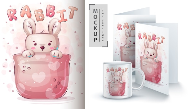 Rabbit in cup - poster and merchandising