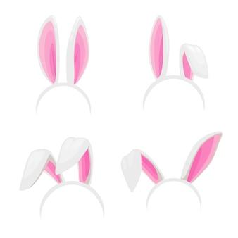 Уши кролика, изолированные повязки на голову пасхального кролика