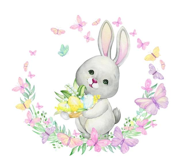 ウサギ、イースターエッグ、卵、花、蝶、植物。漫画スタイルの水彩画の概念