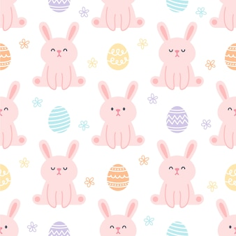Rabbit and easter eggs seamless pattern background