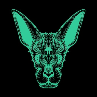 Rabbit face neon color illustration