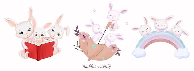 수채화 일러스트와 함께 토끼 가족 컬렉션 집합