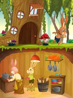 정원 장면의 지표면이 있는 지하의 토끼 가족