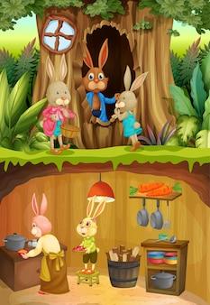Famiglia di conigli nel sottosuolo con la superficie del terreno della scena del giardino