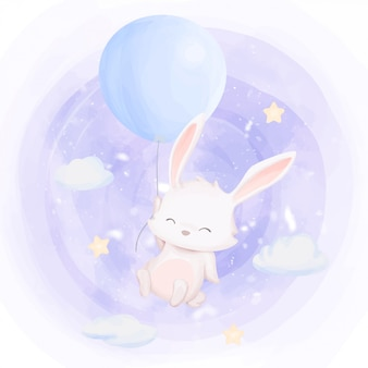 Rabbit fly up to sky with balloon