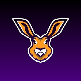 Rabbit gaming mascot e sports logo