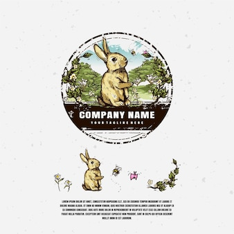 Rabbit in the garden logo illustration design