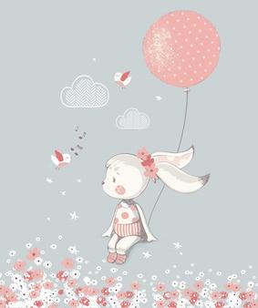 バルーン手描きのベクトルイラストとウサギの女の子は子供や赤ちゃんのシャツのデザインに使用できます