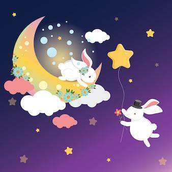 Rabbit gives flower