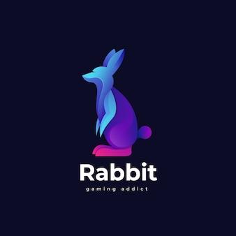 Иллюстрация логотипа градиента кролика с красочным стилем