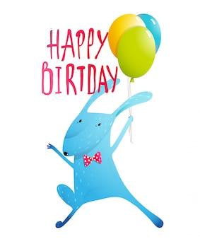 Rabbit greeting happy birthday card for children