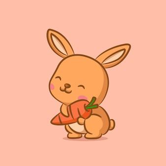 Кролик счастливое лицо держит оранжевую морковь