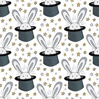 Rabbit in hat pattern. vector seamless background for magic circus. magician doodle stars decoration