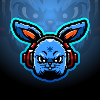Кролик голова талисман киберспорт иллюстрация
