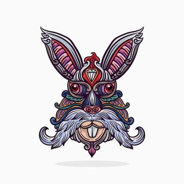 線と色のベクトル図とウサギの頭飾りイラスト