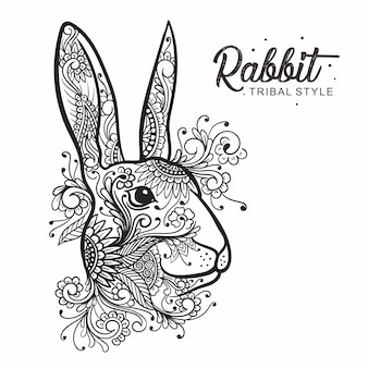 Rabbit head tribal style hand drawn