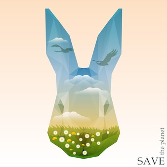 緑の牧草地と雲と青い空を飛んでいる白鳥のシルエットとウサギの頭。デザインカード、招待状、ポスターの自然と動物の保護をテーマにしたコンセプトイラスト