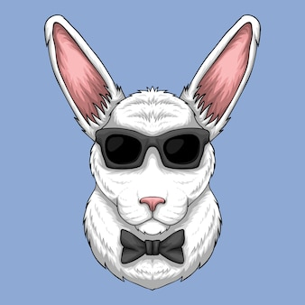 Rabbit head with sunglasses and bow tie cartoon illustration on light blue background