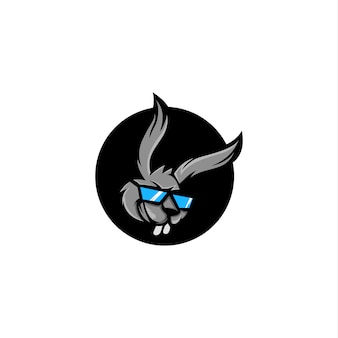 Rabbit head with sunglasses cartoon design