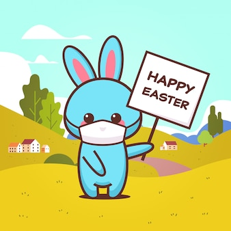 Rabbit holding board happy easter bunny wearing mask to prevent coronavirus spring holiday sticker