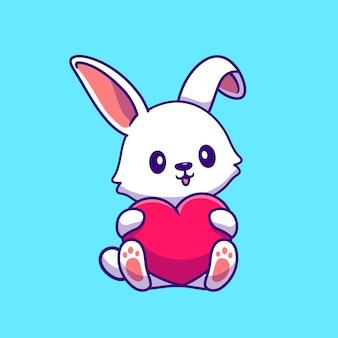 Rabbit holding heart cartoon vector  illustration.