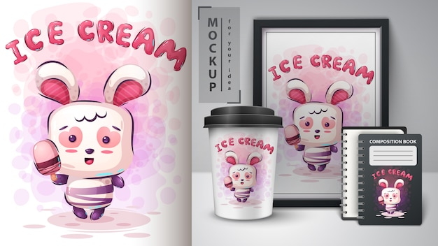 Rabbit and ice-cream poster and merchandising