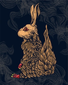 Rabbit illustration from side view