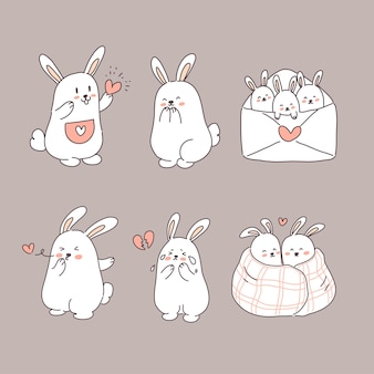 愛のイラストセットでウサギ