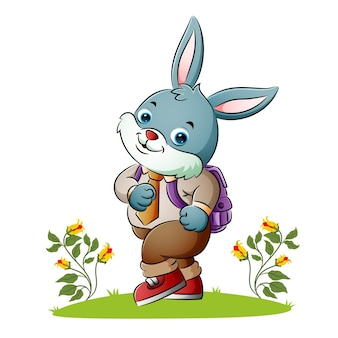 The rabbit is employee going to work of illustration
