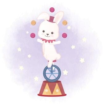 Rabbit and juggling balls hand drawn illustration