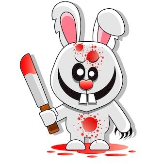 Rabbit killer happy halloween greeting card illustration cartoon sign for print, in comics, fashion, pop art