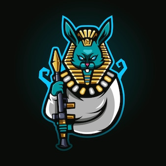 Rabbit king pharaoh with rpg esport mascot logo
