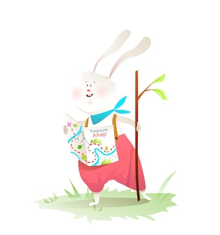 Rabbit little explorer go for adventures with wooden stick wearing clothes. cute hare animal character for children.