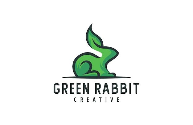 Rabbit logo, animal leaf  illustration with modern style