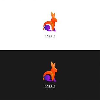 Кролик логотип дизайн шаблона с градиентным цветом