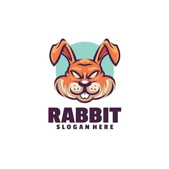 白で隔離のウサギのロゴのテンプレート