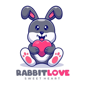 Rabbit love mascot cartoon logo template