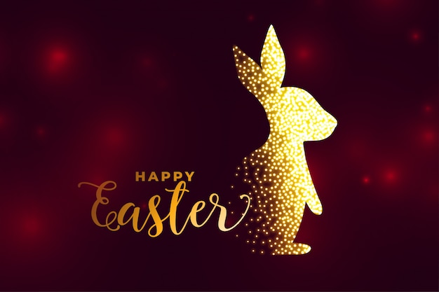 Rabbit made with sparkles happy easter background