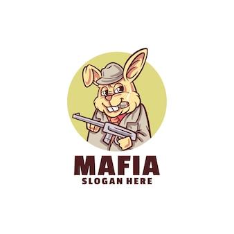 白で隔離されるウサギ マフィア ロゴ