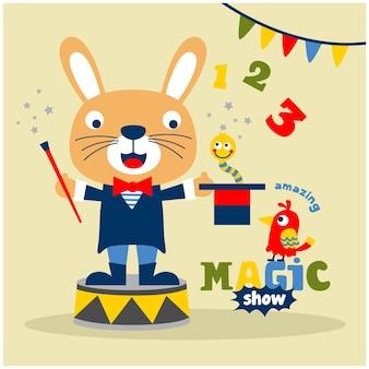 Rabbit the magician funny animal cartoon