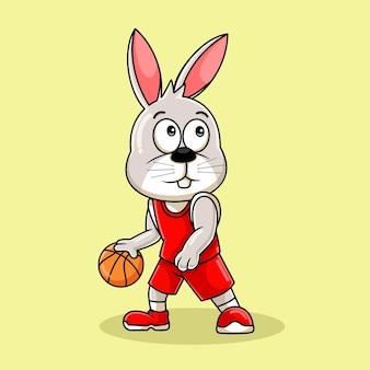 Мультфильм талисман кролика играет в баскетбол