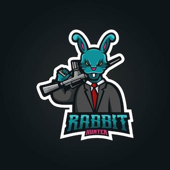 バッジ、エンブレム、tシャツの印刷用のモダンなイラストコンセプトスタイルのウサギのマスコットロゴデザイン。スポーツチームの銃を運ぶウサギのイラスト